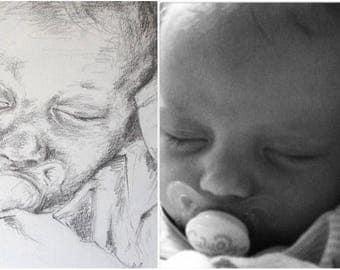 8x10 Inch Custom Family Portrait Drawing, Custom Drawing, Custom Portrait Drawing, Photo to Drawing, Family Portrait, Fine Art Drawing
