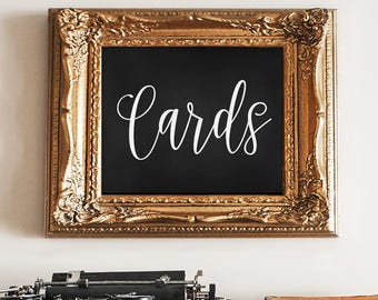Cards, Chalkboard, handwritten, PRINTABLE, 5x7 inch, Digital, PDF, Instant Download, Weddings, Welcome Table, Sign, Wedding Cards Sign
