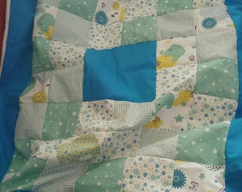 Personalized blue patchwork and minkee blanket