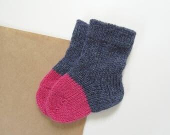 Baby Socks 100% lambswool Blue+Pink