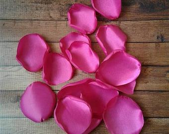 Magenta rose petals, magenta wedding, wedding decor, flower girl petals, wedding petals, rose petals, fake petals, aisle runner decor.