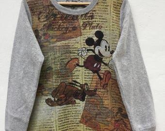 Rare!!Vintage Mickey Mouse Full Printed Walt Disney World Sweatshirt