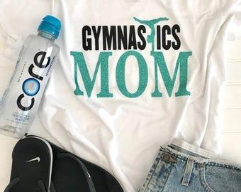 Gymnastics Mom Shirt with Back, Gymnastics Mom, Mom Shirt, Gymnastics Shirt, Custom Shirt, Vinyl Shirt, Gymnastics, Team Mom, Team Shirt