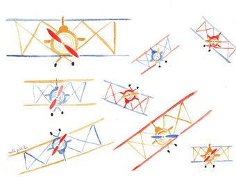 Aircraft. Original watercolor