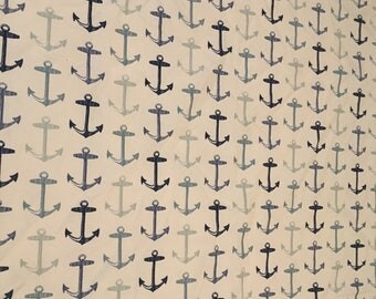 1 and a half yards of salor anchor print indoor/outdoor fabric free shipping