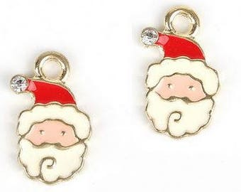 Christmas Santa Charms - Set of 2 - 9mm x 17mm - Jewelry Supply
