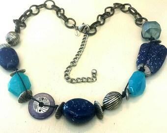 Vintage Chico's Blue Glass Stone Lapis Tribal Necklace B
