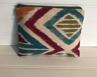 Autumn Geometric Colored Pouch | Handmade Zipper Pouch