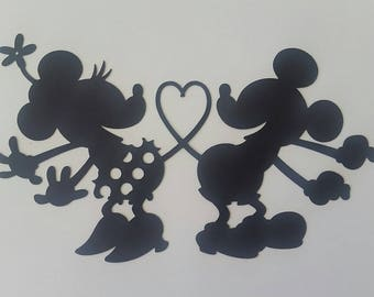 DISNEY Mickey & Minnie Mouse Black Silhouette - Scrapbook Page Die Cut Paper Piece