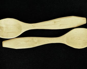 Two beautiful crepe myrtle hand crafted wooden eating spoons