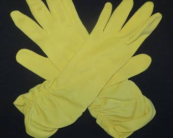 Vintage 60s Ladies Yellow Gloves - Sz 6