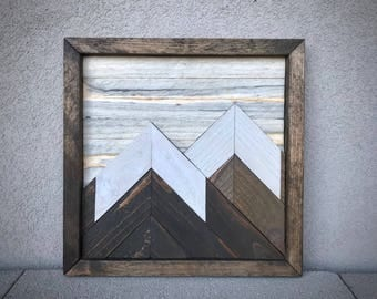 "Mountain Reclaimed Wood Wall Art - 12""x12"""