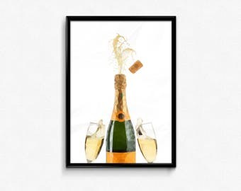 Prosecco Low Poly Print Poster Alcohol Wine Drink Triangle