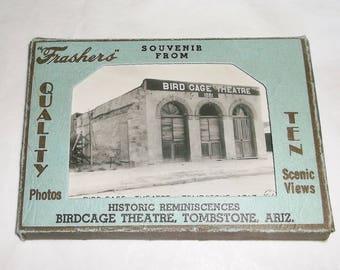 """10 vintage Souvenir Views of BIRDCAGE THEATRE . Tomstone, Ariz. • mini postcard pack • black&white photos • """"Tashers"""""""