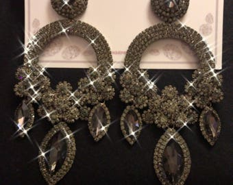 Light Black and Charcoal Austrian Crystal Chandelier Pageant Earrings