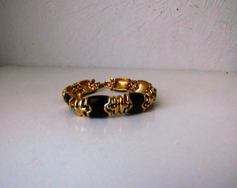 Black and gold plated bracelet / S 80 Monet