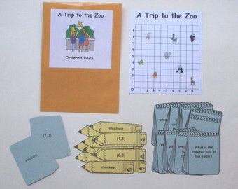 Teacher Made Math Center Educational Learning Resource Game Ordered Pairs