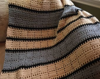 Crochet Squares and Stripes Throw