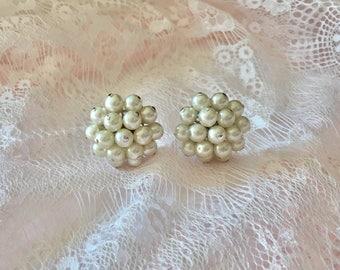 Large Pearl Earrings, Pearl Clip On Earrings, Vintage Pearl Earrings, Pearl Cluster Earrings, White Pearl Earrings, Pearl And Silver