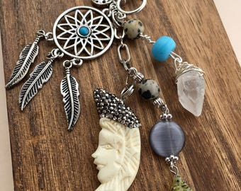 Celestial Dreams Keychain/Purse Charm;Wishing Star,Dream Catcher,Man in the Moon;Carved Shell,Crystal Point,Jasper,Glass,Silver Charm Beads