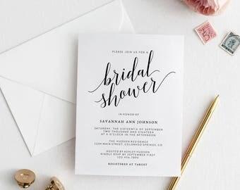 Bridal Shower Invitation Template   Printable Bridal Shower Invitation   DIY Bridal Invitation   Wedding Template   Savannah Collection