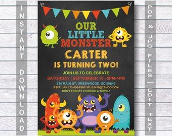 Monster birthday invitation, Monster invitation, Instant Download, Monster birthday, Little monster Birthday Invitation, Little monster