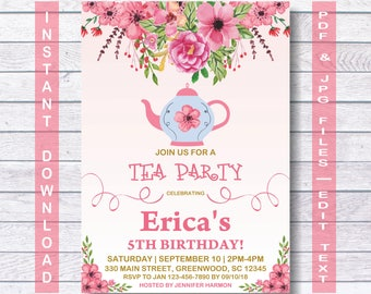 Tea Party Birthday Invitation, Instant Download, Tea Birthday Invitation, Tea Party Birthday, Tea Party, Tea Invitation