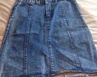 Light denim knee length skirt