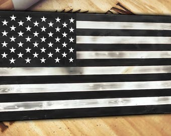 Wood American Flag Distressed Torn Burnt Rustic Large