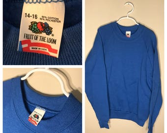 Vintage Fruit of the loom sweatshirt // youth large 14-16 // blank deadstock NOS crew neck // crewneck 1980s rare
