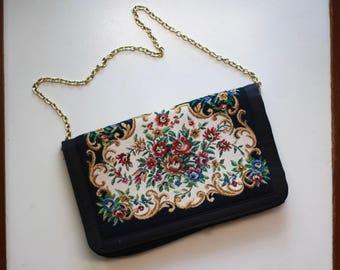 Vintage Walborg Black and Floral Needlepoint Aubusson Tapestry Style Handbag