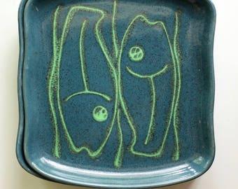 Mid Century Gidden Pottery Fish Plates