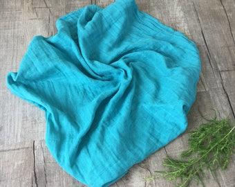 Teal Baby Blanket/ Swaddle Blanket/ Muslin blanket / Swaddle /Navy blue Muslin Swaddle/ Toddler Blanket/ Personalized blanket