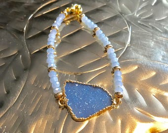 Druzy Blue Quartz and Swarovski crystal gold Bracelet.