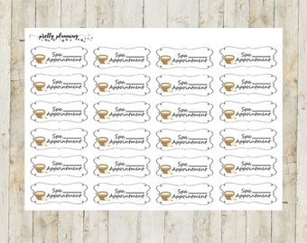 Spa Appointment Stickers by Pretty Planning! Colorful and fun stickers ideal for planning your life!
