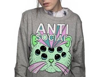 anti-social kitty pullover sweatshirt