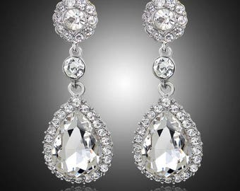 Rhinestone, Crystal, CZ earrings, wedding bridal jewelry  costume