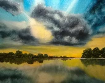 16x20 original sunset landscape oil painting