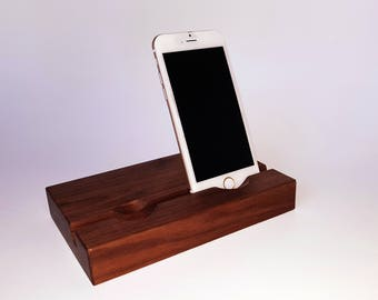 Double phone stand. Smartphone stand. iPhone stand. Wood iPhone stand. Wooden iPhone Stand. Walnut phone stand.  Office accessories.