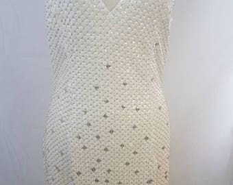RESERVED*Beautiful white and gold vintage sequin Gown/ Wedding Dress
