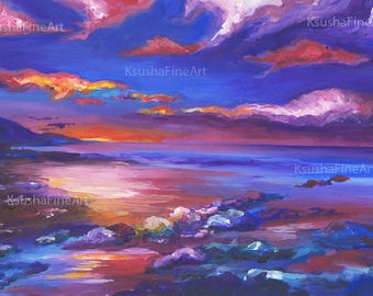 Seaside Art print, Acrylic Landscape Painting, Beautiful Landscape, Seaside Art, Art Landscape, Cute print, Print Landscape, Acrylic Artwork