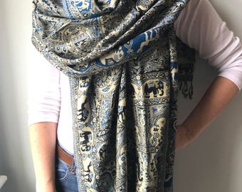 Indian Scarf - Blue, Black and Beige