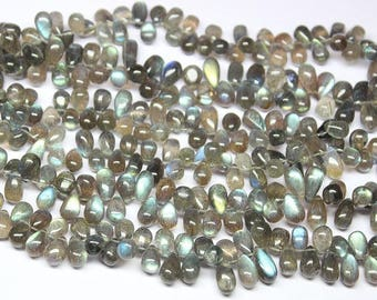 "Blue Fire Labradorite Smooth Briolette Tear Drop Gemstone Craft Loose Beads Strand 9"""