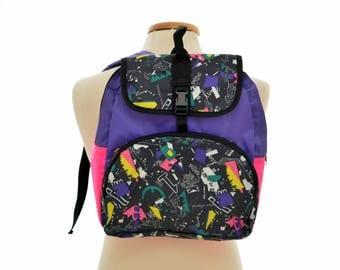 80s/90s neon SCHOOL BAG / backpack