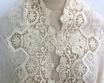 Double Border Ivory Knit Lace - Sold by the Yard