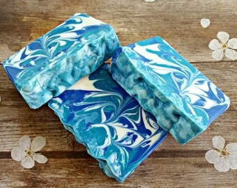 Soap for Men, Cold Process Soap, Handmade Soap, Artisan Soap, Scented Soap, Gift for Him, Gift for Dad, Decorative Soap, Blue Bathroom Decor