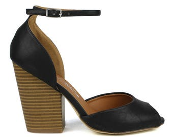 Toi et Moi Risotto-01 D'orsay upper Peep-toe High Heel in Black