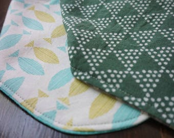 Green Muslin with taupe woven back
