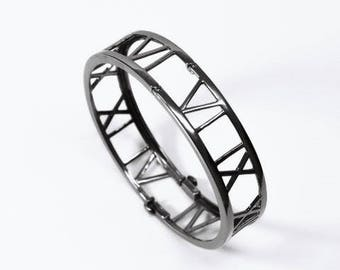 Blackened Silver Roman 8:28 Bangle