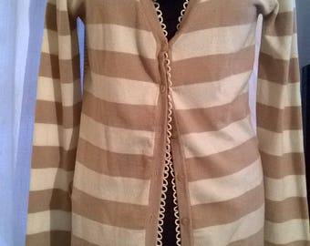 Beige and ecru striped viscose and cashmere Cardigan